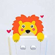 Wall Stickers Wall Decals Style Cartoon Lion Switch Waterproof Removable PVC Wall Stickers