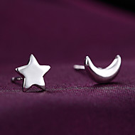 S925 Fine Silver Moon & Star Stud Earrings