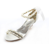Women's Summer Peep Toe / Mary Jane Silk Wedding / Dress / Party & Evening Low Heel Crystal / Pearl Ivory