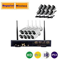 8ch 960p / 720p megapixel trådlös ip hd kamera NVR kit