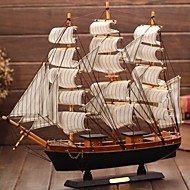 Wooden Sailing Boat Model The Mediterranean Pirate Ship Gift Craft Ship  Smooth Furnishing Articles(Ramdon Color)