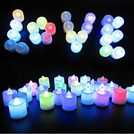 24pcs färg färg ledde värmeljus ljus för påsk jul Alla hjärtans dag bröllopsfest