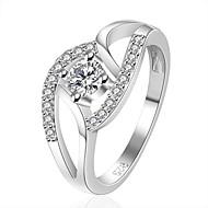 XU Women's 925 Silver Plated Diamonds Ring