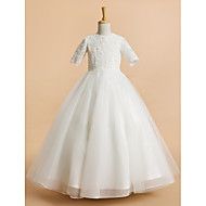 Lanting Bride A-line Tea-length Flower Girl Dress - Tulle Short Sleeve Jewel with Lace