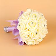"""פרחי חתונה עגול ורדים זרים חתונה סאטן אלסטי / קצף 8.27""""(לערך.21ס""""מ)"""