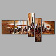 Ručně malované AbstraktníStyl Pět panelů Plátno Hang-malované olejomalba For Home dekorace