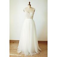 A-line Wedding Dress - Ivory Floor-length V-neck Tulle
