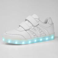 לבנים / לבנות-נעלי ספורט-סינטתי-מעוגל-שחור / לבן / כסוף-שטח / קז'ואל / ספורט-עקב שטוח