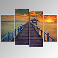 VISUAL STAR®4 Panel Seascape Canvas Print Framed Sunrise Landscape Canvas Art Ready to Hang