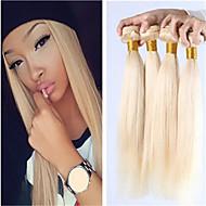 """3pcs / lot blont brasilianskt hår 3st lot mänskliga jungfru löshår brasilianska 8 """"-34"""" färg 613 blond jungfru hår"""