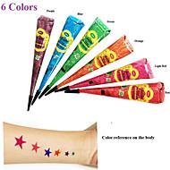6pcs травяные хной трубка многоцветный набор татуировки боди-арт Mehandi Менди DIY водонепроницаемый хена