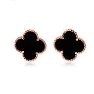Small Size Clover Stud Earrings,Black/White (5MM*5MM)