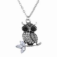 Europe All-Match Owl Diamond Pendant Necklace