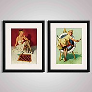 Framed  Pin Up Girls Canvas Print Art for Wall Decoration  40x50cmx2pcs Ready To Hang