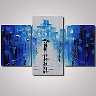 3 Panels 100% Hand Painted Blue Rainy Street Painting with Trees with Thick Texture Cityscape Wall Art  Ready to Hang