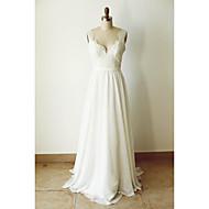A-라인 웨딩 드레스 코트 트레인 스트랩 쉬폰 와 아플리케 / 버튼 / 허리끈 / 리본