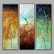 Handgeschilderde Abstracte portrettenModern Drie panelen Canvas Hang-geschilderd olieverfschilderij For Huisdecoratie