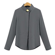 Plus Sizes Women's Collar Long Sleeve Decorative Buttons Solid Color Slim OL Shirt Blouse Tops