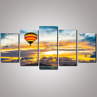 5 Panels Sunrise Beautiful Clouds  and Balloon Canvas Print Modern Wall Art for Home Decor Unframed