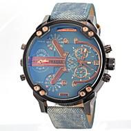 JUBAOLI® Men's Military Dual Time Display Leather Band Quartz Wristwatch Cool Watch Unique Watch Fashion Watch