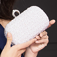 Women Bags Metal Evening Bag with Imitation Pearl Crystal/ Rhinestone for Event/Party White Black Blushing Pink