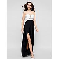 TS Couture 프롬 포멀 이브닝 블랙 타이 갈라 드레스 - 아름다운 뒤태 시스 / 칼럼 끈없는 스타일 바닥 길이 새틴 쉬폰 와 주름 앞면 트임