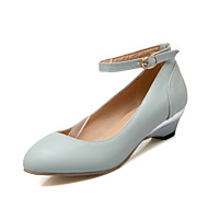 Women's Shoes Leatherette Low Heel Comfort Heels Wedding / Office & Career / Party & Evening / Casual Blue / Almond