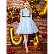 Cocktail Party / Homecoming / Holiday / Prom Dress - Sky Blue Plus Sizes / Petite Ball Gown Jewel Knee-length Chiffon / Tulle