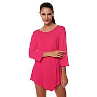 Enfärgad Trekvartsärm T-shirt Kvinnors Rund hals Bomull / Polyester