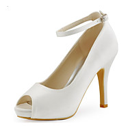 Women's Spring / Summer / Fall Heels / Peep Toe Stretch Satin Wedding / Dress / Party & Evening Stiletto Heel Buckle Ivory