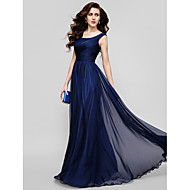 TS Couture® Homecoming / Formal Evening / Holiday Dress Plus Size / Petite A-line / Princess Scoop Floor-length Chiffon with Ruching / Criss Cross