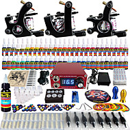 Solong Tattoo Complete Tattoo Kit 3 Pro Machine Guns 54 Inks Power Supply Foot Pedal Needles Grips Tips TK352