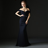 Formal Evening Dress Trumpet / Mermaid Off-the-shoulder Sweep / Brush Train Polyester with Beading / Sash / Ribbon