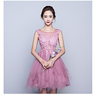 Cocktail Party Dress-Lavender A-line Jewel Short/Mini Tulle