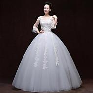 A-line Wedding Dress - White Floor-length V-neck Lace / Satin