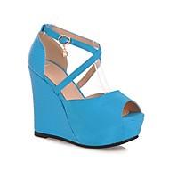 Women's Shoes Heel Wedges / Heels / Peep Toe / Platform Sandals / Heels Outdoor / Dress / CasualBlack / Blue / Almond