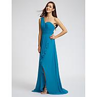 Lanting Bride® Sweep / Brush Train Chiffon Bridesmaid Dress - Sheath / Column One Shoulder withRuffles / Sash / Ribbon / Side Draping /