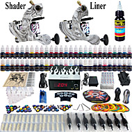 Solong Tattoo® Complete Tattoo Kit 2 Pro Machines 54 Inks Power Supply Foot Pedal Needles Grips Tips TK220