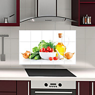 Removable Kitchen Oilproof Wall Stickers with Fresh Vegetables Style Water Resistant Home Art Decals