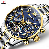Carnival Men's Skeleton Watch Hollow Engraving Automatic self-winding Stainless Steel Band White Gold