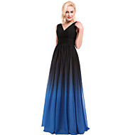 Cocktail Party Dress Ball Gown V-neck Floor-length Chiffon / Charmeuse with Beading / Draping / Sash / Ribbon / Side Draping