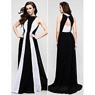 TS Couture 프롬 포멀 이브닝 드레스 - 컬러 블럭 시스 / 칼럼 쥬얼리 바닥 길이 쉬폰 와 주름