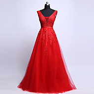 Cocktail Party / Formal Evening Dress - Ruby  V-neck Sweep/Brush Train Tulle