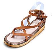 נעלי נשים - סנדלים - עור - נוחות / רצועה אחורית / פתוח - שחור / חום / לבן - שמלה / קז'ואל - עקב שטוח