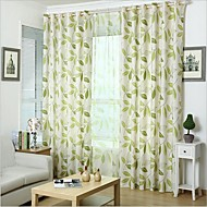 שני פנאלים גס פרחוני / בוטני ירוק חדר שינה תערובת פשתן/כותנה לוח וילונות וילונות