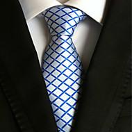 Gravata (Azul / Branco , Poliéster) Quadriculado