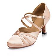 Для женщин - Сатин - Персонализируемая (Черный / Розовый) - Латина / Джаз / Модерн / Сальса / Самба / Обувь для свинга