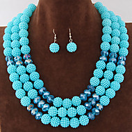 Women's Metal Trend Fashion Wild Gorgeous Imitation Pearl Ball Necklace Earrings Sets