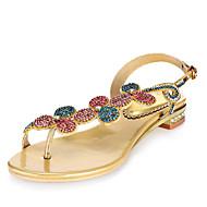 נעלי נשים - סנדלים - עור - טבעת אצבע - אדום / זהב - שמלה / קז'ואל / מסיבה וערב - עקב עבה