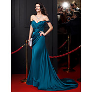 TS Couture® Formal Evening Dress Sheath / Column Off-the-shoulder Court Train Satin Chiffon with Draping / Sash / Ribbon / Side Draping / Ruching